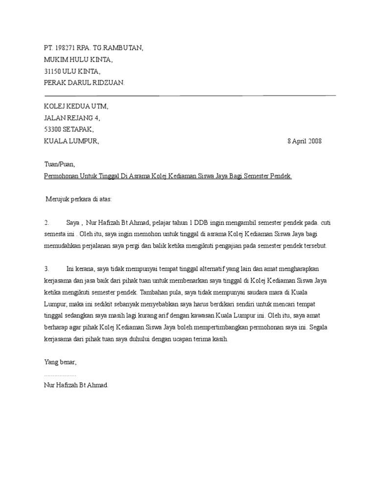 Surat Rasmi Rayuan Kolej Kediaman Uitm Selangor U