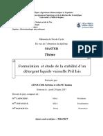 Formulation Et Étude de La Stabilité d'Un Détergent Liquide Vaisselle Pril-Isis (1)