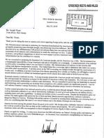 Correspondence between Freeholder Joseph Vicari and President Donald Trump