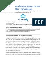 Cho Thuê Mặt Bằng Kinh Doanh Hà Nội - Homedy.com - 093.268.2687