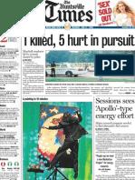 1 killed, 5 hurt in pursuit