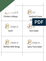 Food Names Tags