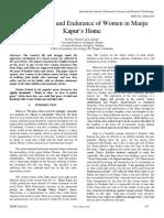 Vulnerabilities and Endurance of Women in Manju Kapur's Home