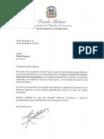 Cartas de felicitaciones del presidente Danilo Medina a exaltados al Salón de la Fama de Deportistas Petromacorisanos