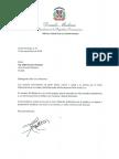 Carta de condolencias del presidente Danilo Medina a Gilberto Cruz Herasme por fallecimiento de su madre, Mercedes María Herasme Peña viuda Cruz