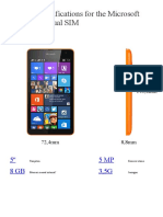 Detailed Specifications for the Microsoft Lumia 535 Dual SIM