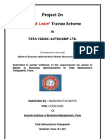 MBA Project Report on 'Earn and Learn'  Trainee Scheme At TATA YAZAKI AUTOCOMP LIMITED