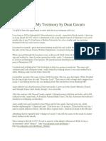My Testomony by Dean Gavaris