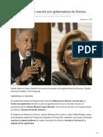 07-09-2018-López Obrador se reunirá con gobernadora de Sonora - Excelsior