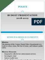 Presentation - Police Department Budget FY 2018-2019