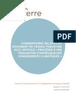 """Commentaires document de travail ECCC """"Procéder à une évaluation stratégique des changements climatiques"""""""