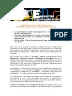 Boletín de Prensa - Primer Encuentro de Investigación Escolar
