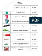 Tabela de Preços Tupperware
