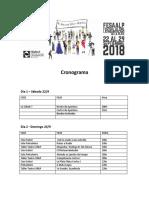 Cronograma Dia x Dia FESAALP 2018
