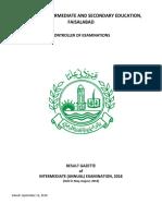 Gazette Inter A2018 Faisalabad Board