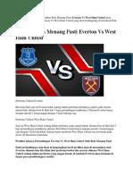 Prediksi Bola Menang Pasti Everton vs West Ham United 16 September 2018