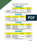 Calendarización Del Año Escolar 2018 Inicial - Primaria