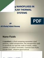 Using NANOFLUIDS in Solar Energy