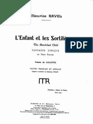 Ravel LEnfant Et Les Sortileges Vocal Score | Musique vocale