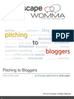Pitching to Bloggers - A Fanscape and WOMMA White Paper
