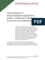 Psychanalyse Et Anthropologie Aujourdhui Mythe Complexe Doedipe Et Processus de Subjectivation