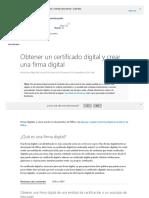 1d2 Obtener Un Certificado Digital y Crear Una Firma Digital - Soporte de Office