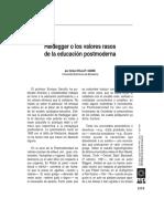 Heidegger O Los Valores Rasos de La Educacion Postmoderna