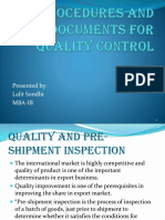 Procedures and Documents for Quality Control