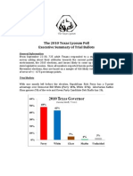 2010 Texas Lyceum Poll Trial Ballots Executive Summary With Charts