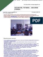Vacuna Tetanos - Pura Leyenda y Estafa...