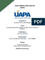 Tarea I Conceptos generales, tipología  y objetivo de la evaluación educativa..docx