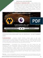 Prediksi Wolverhampton vs Burnley 16 September 2018