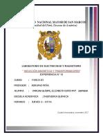 Informe   N° 10-INDUCCIÓN MAGNÉTICA Y TRANSFORMADORES