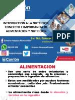 Semana 1 - Terminologia Basica, Nutrición y Procesos DigestivosLos Alimentos