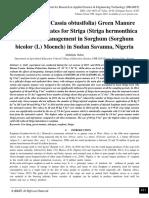 Use of Cassia (Cassia obtusifolia) Green Manure and Nitrogen Rates for Striga (Striga hermonthica Del Benth) Management in Sorghum (Sorghum bicolor (L) Moench) in Sudan Savanna, Nigeria