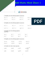 Add Maths Work Sheet 1 1
