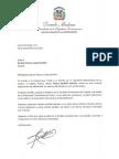 Carta de condolencias del presidente Danilo Medina a Carlina Patrone viuda Saviñón por fallecimiento de su esposo, Arturo Savinón Castillo
