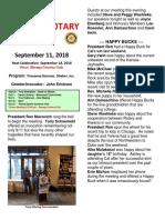 Rotary Newsletter for Sept 11 2018
