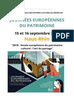 Programme des Journées du patrimoine 2018 dans le Haut-Rhin