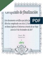 Certificado Udemy Viaje Astral