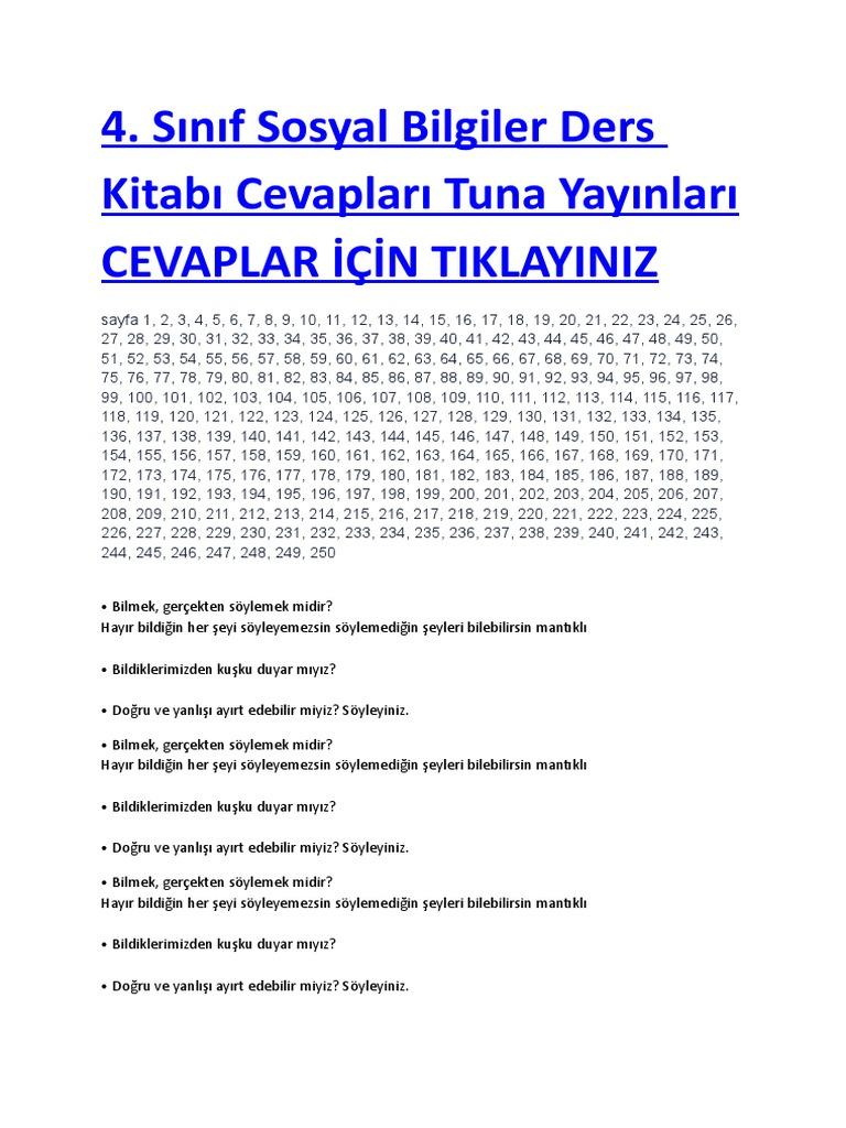 2018 2019 4 Sınıf Sosyal Bilgiler Ders Kitabı Cevapları Tuna Yayınları