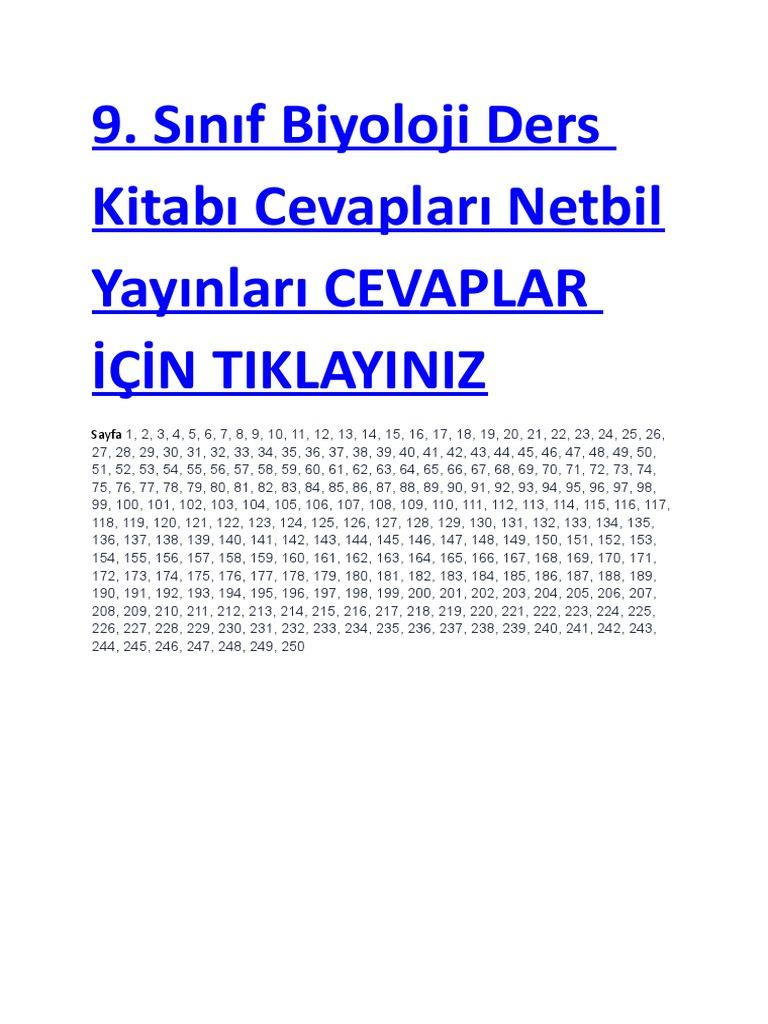 2018 2019 9 Sınıf Biyoloji Ders Kitabı Cevapları Netbil Yayınları