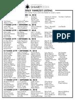 September 15, 2018 Yahrzeit List