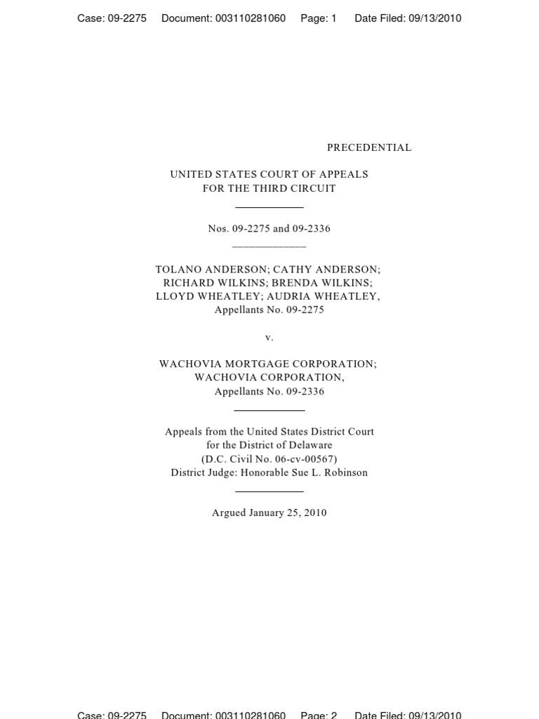 anderson v wachovia mortgage corporation summary judgment evidence