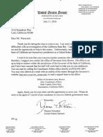 2016-Open Letter to Senator  Dianne Feinstein