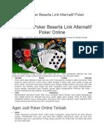 Situs Judi Poker Beserta Link Alternatif Poker Online