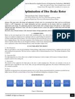 Design and Optimisation of Disc Brake Rotor