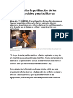 Sugieren evitar la politización de los conflictos sociales para facilitar su solución.doc