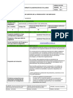SYLLABUS GESTION DE LA PRODUCCIÓN Y DE SERVICIOS (DISTANCIA)