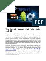 Tips Terbaik Menang Judi Bola Online Android